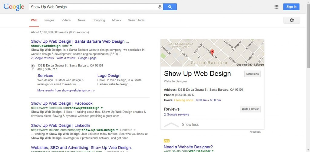 Show Up Web Design_Name in search