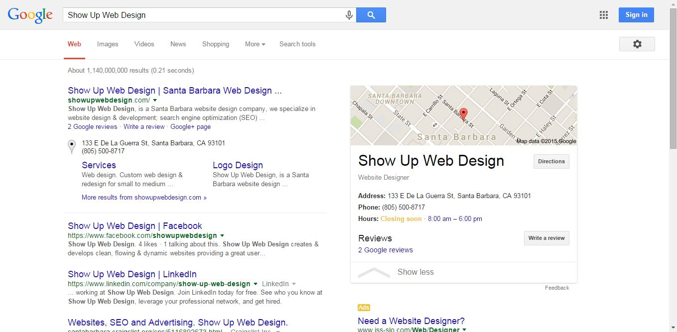 Search ranking example